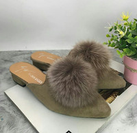 Sepatu Sandal Sendal Selop Pom pom Wanita Import