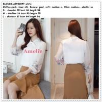 Baju Atasan Lengan Kemeja Bordir Putih White Blouse Korea Import Tunik