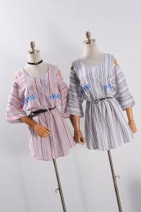 kemeja pastel pink kotak vintage cotton pakaian blouse import wanita