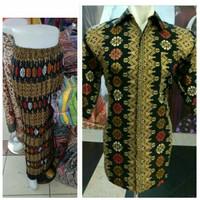 couple rok plisket jumbo marlita dan kemeja batik
