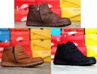 Sepatu Kickers boots casual wringkle Zipper coklat