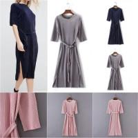 Swing Belt Long Dress (S,M,L) PINK,BLUE,GRAY - 43560