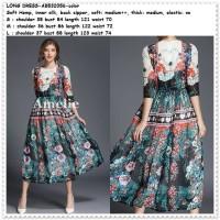 Party Swing Long Dress Gaun Pesta Midi Lengan Bunga Korea Import Green