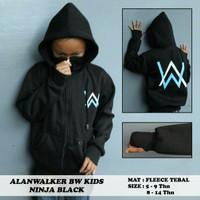 Jaket Anak Hoodie Ninja Alan Walker 5-14 tahun Hitam Sablon putih Biru