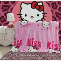 Selimut Bulu / Selimut Karakter / Selimut HK Hello Kitty - Bonus Tas