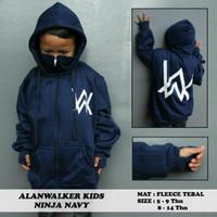 Jaket Anak Hoodie Ninja Alan Walker 5-14 tahun Navy Sablon putih