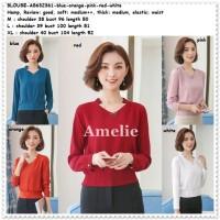 Baju Atasan Kemeja Wanita Putih Red Pink Blouse Korea Import Tunik