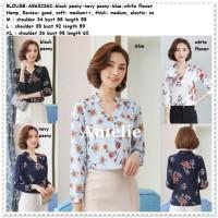 Baju Atasan Kemeja Kerja Wanita Putih Biru Blouse Korea Import Tunik