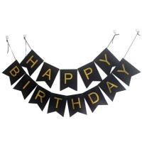 BUNTING FLAG HAPPY BIRTHDAY BLACK GOLD/ BANNER HBD/ BUNTING FLAG HBD