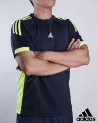 ADIDAS Active Tee Black & NeonGreen - Baju Kaos Olahraga Pria