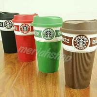 Cangkir mug keramik logo motif starbucks