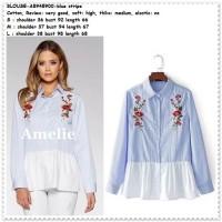 Baju Atasan Kemeja Bordir Garis Biru Putih Wanita Korea Import Tunik