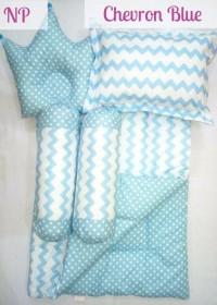 CHEVRON  BLUE Baby Bed Set Bedcover Selimut Bantal Cover Crown BIRU