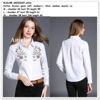 Baju Atasan Kemeja Bordir Wanita White Blouse Korea Import Tunik Putih