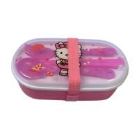 Lunch Box Anak 2 Susun Karet - Hello Kitty Pink