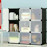 Lemari Baju Anak Plastik/Rak Kabinet Multifungsi 9 Pintu/Kotak/Susun