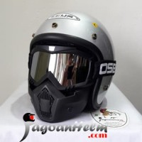 ZEUS Helm RETRO ZS385 |OSBE SILVER GOGGLE Mask | ZS 385