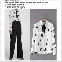 Baju Atasan Dasi Kemeja Wanita Putih White Blouse Korea Import Tunik
