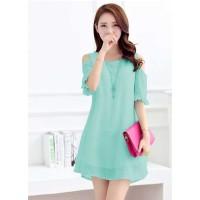 fashion Dress Tangan 3/4 open shoulder Gaya Korea - Beauty Girl Murah
