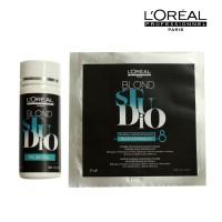 bleaching rambut loreal blond studio bleach powder + developer