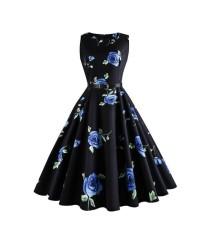 HQ 20658 Black Blue Roses Swing Dress