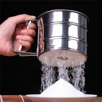 Peralatan Baking Kue Gelas Penyaring Mekanik Ayak Bubuk Tepung Coklat