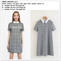 Pearl Mini Dress Kemeja Kotak Wanita Korea Import AB846287 HItam Putih