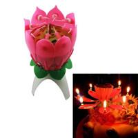 Lilin Bunga Lotus Mekar Ada Musik Happy Birthday