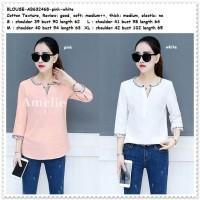 Baju Atasan Blouse Bordir Wanita Korea Import AB632468 Pink Putih