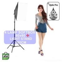 Paket Softbox 60x60cm 4-Lamp Holder With Light Stand 200cm Foto Studio