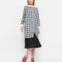 Cottonink Black Plaid Paris Shirtdress Motif Kotak-Kotak Mutiara