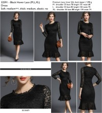 32591 Black Hover Lace Dress / Dress Pesta Midi Renda Hitam