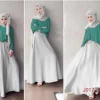 Gamis fashion long sleeve double layer plus hijab j017 Dijual