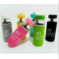 MY BOTTLE BENING WARNA dengan Pouch Busa Botol Transparan B03-4