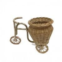 Kerajinan Tangan Rotan Sepeda Vas Pot Bunga Cekung 27x16x20cm