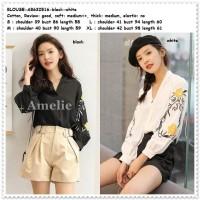 Baju Atasan Kemeja Bordir Blouse Wanita Korea Import Hitam Putih Tunik