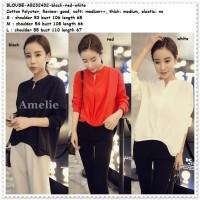 Baju Atasan Blouse Kemeja Tunik Wanita Korea Import Hitam Putih Merah