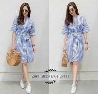 [Zara stripe blue dress RO] dress wanita stripe salur biru