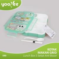 Yooyee - Kotak Makan Grid Bento Lunch Box 5 Sekat Anti Bocor