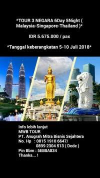 TOUR 3 NEGARA 6Day 5Night ( Malaysia-Singapore-Thailand )