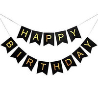 Banner Bunting Flag Happy Birthday Simple Simply Hitam Black Gold