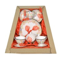 Parcel Teaset  for 4 Swirl 9 pc Parsel Lebaran-Keramik