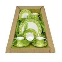 Parcel Teaset  for 4 Forest Light Green 9 pc Parsel Lebaran-Keramik