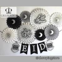 Set Dekorasi Idul Fitri / Lebaran / Eid Mubarak (Paperfan+Banner Flag)