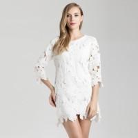 Dress lengan Renda putih Baju pesta wanita bahan renda Lace longgar