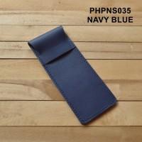 tempat pensil kulit kulit asli warna navi blue pencil case - PHPNS035