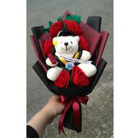 buket boneka wisuda bunga flanel 09 / bear wisuda / beruang wisuda