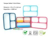 Yooyee Kotak Makan Grid Bento Lunch Box 3 Sekat Anti Bocor (FP000579)
