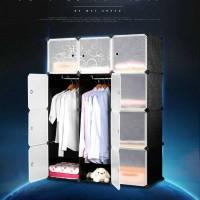 Magic Wardrobe Lemari Baju Plastik DIY 12 Pintu - Hitam