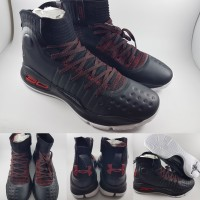 Sepatu Basket Under Armour Stephen Curry 4 Mid Full Black Red Hitam